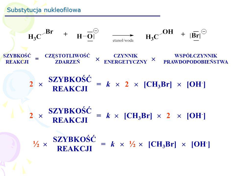 ½ ½  SZYBKOŚĆ REAKCJI 2  = k  2  [CH3Br]  [OH-] SZYBKOŚĆ REAKCJI